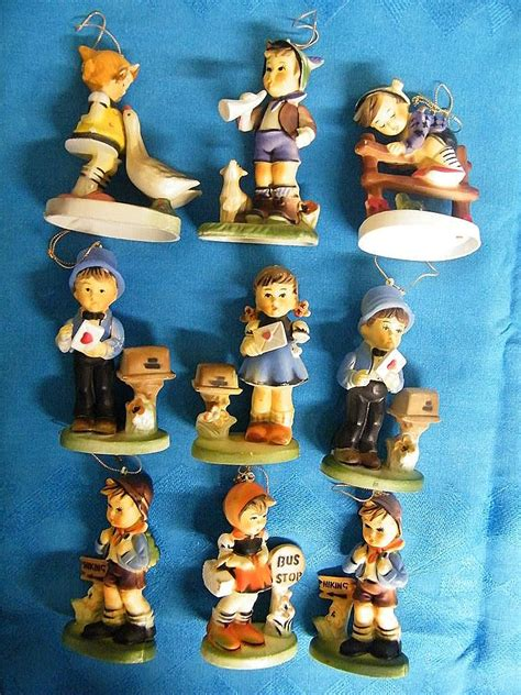 hummel like ornaments set of 9 plastic hand painted