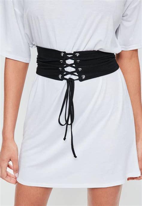 white oversized corset belt t shirt dress missguided