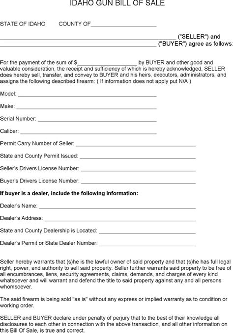 Idaho Bill Of Sale Form Download Free Premium Templates Forms Sles For Jpeg Png Pdf Bill Of Sale Template Idaho