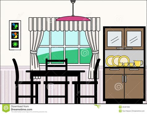dining section dining room with furniture and fittings stock vector