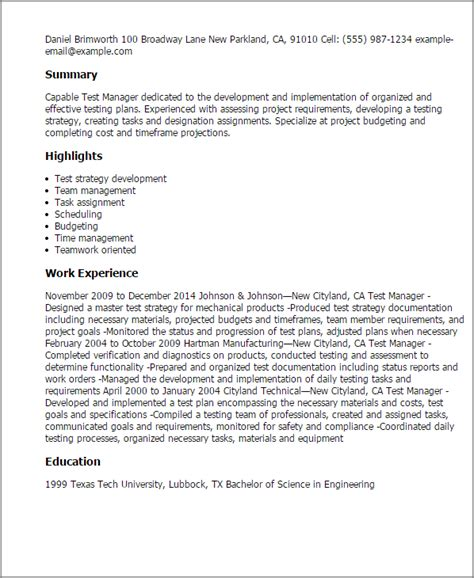 Software Test Manager Resume by Professional Test Manager Templates To Showcase Your