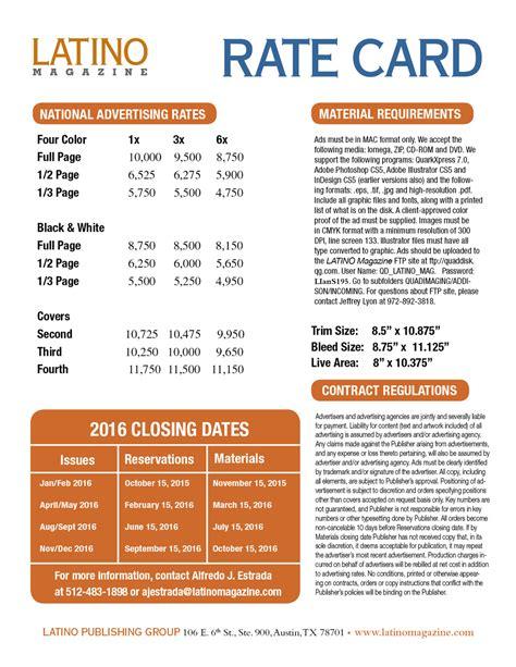 magazine layout design rates latino magazine