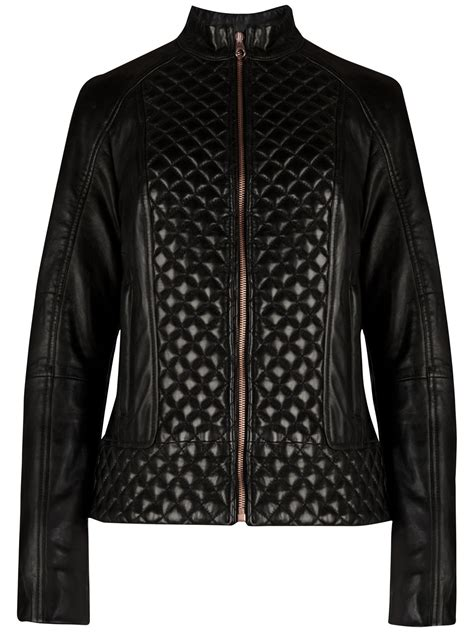 Black Leather Quilted Jacket by Ted Baker Nyssie Quilted Leather Jacket In Black Lyst