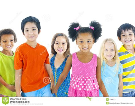 Children Of The White of diverse children on white background stock image