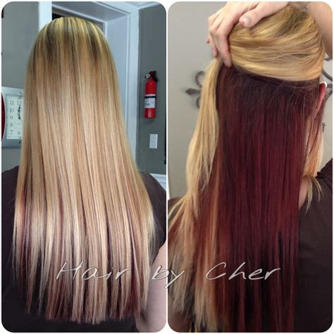 blonde on top darker blonde on bottom blonde with red underneath and dark highlights lowlights