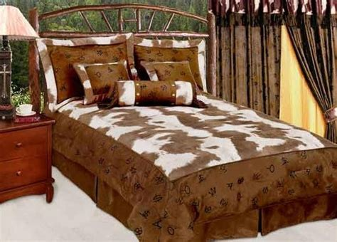 Cowhide Comforter Set by Western Decor Rustic Cow Cattle Ranch Brands Cowhide