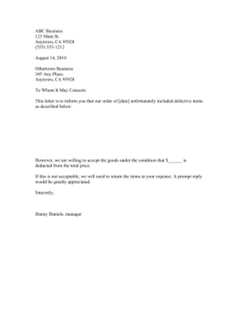 No Purchase Order No Pay Letter Acceptance Of Defective Goods Letter Template