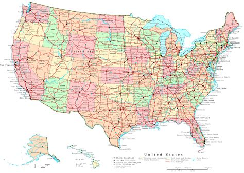 united states map with cities and roads united states printable map