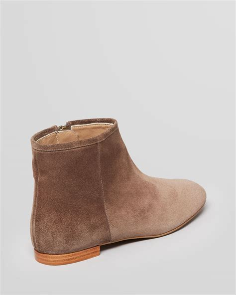 flat bootie shoes delman flat booties in brown lyst