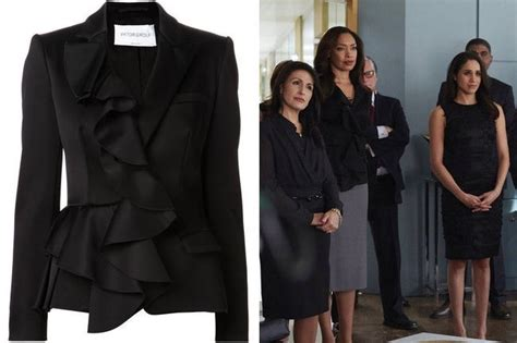 Torres Suits Wardrobe by Torres Black Ruffle Front Blazer On Suits Tv