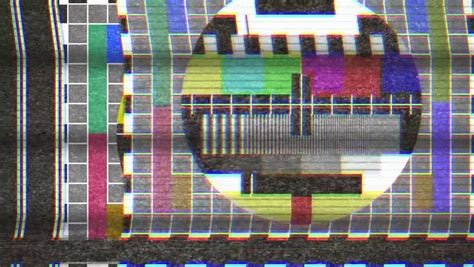 test pattern noise 4k analogue old crt tv test card with color bars full of