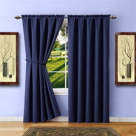 navy blue curtain tie backs warm home designs pair of navy blue room darkening