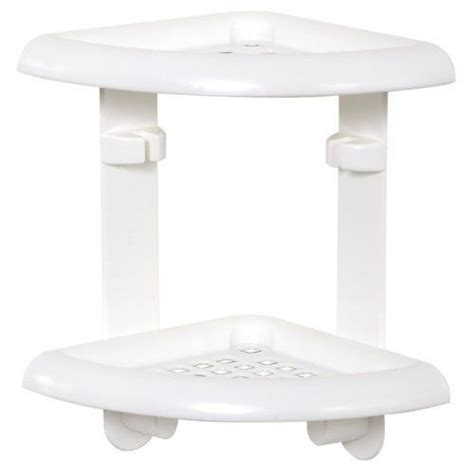 zenith products corner 2 shelf caddy white plastic shower