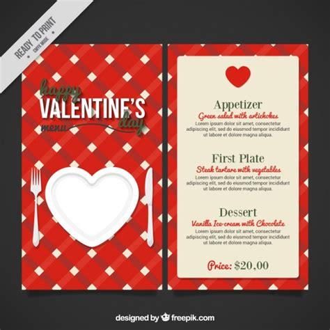 valentines day menu vector free