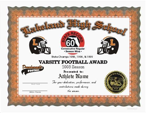 football certificate templates free color certificates