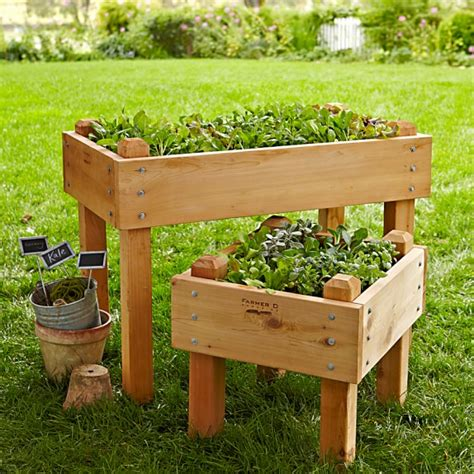 elevated garden beds on legs plans farmer d cedar bed on legs kit 2 x 4 williams sonoma