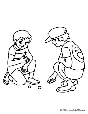 boys playing marbles in the school yard coloring pages