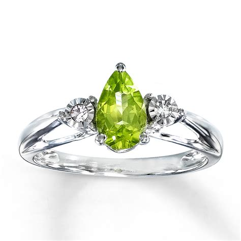 Kay   Peridot Ring 1/20 ct tw Diamonds 10K White Gold