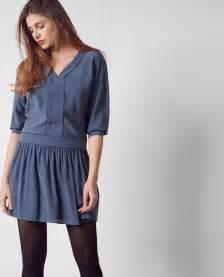robe en soie ink blue chanson comptoir des cotonniers