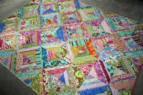Bright Colored Quilts by Fibers Bright Colored Scrappy Quilt Finished