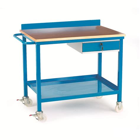 mobile work benches mobile workbench with single drawer plywood top csi