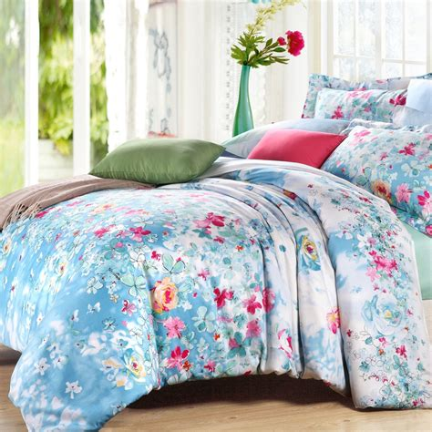 softest bedding light blue white and pink vintage chic rustic jungle style