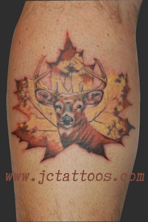 buck tattoo buck deer canadiana maple leaf tattoos