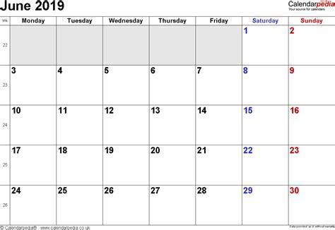 Calendar 2019 June Calendar June 2019 Uk Bank Holidays Excel Pdf Word Templates