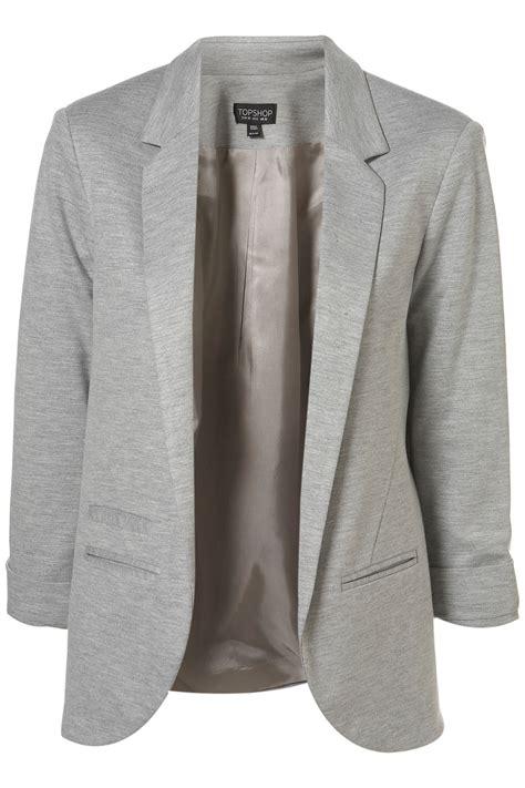grey blazer topshop ponte boyfriend blazer in gray grey marl lyst