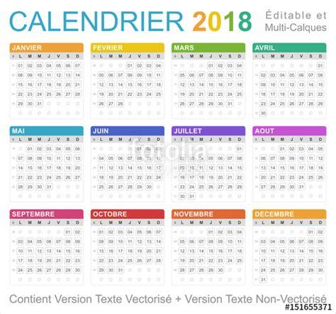 Calendrier 2018 Imprimable Quot Calendrier 2018 Quot Fichier Vectoriel Libre De Droits Sur La