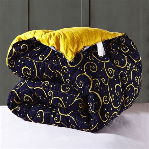 Navy Blue King Size Quilt Sanding Cotton Fabric Navy Blue And Yellow Printed