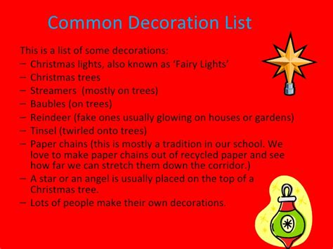 list of decorations decorations