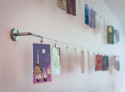 hanging pictures with wire and clips display