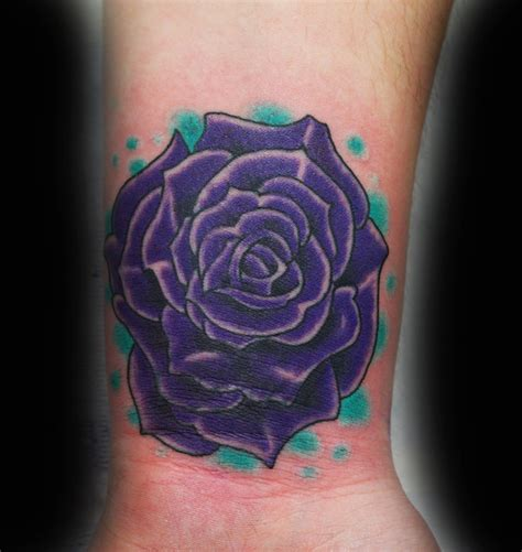 black and purple rose tattoo unique with black leaves design by amitiel