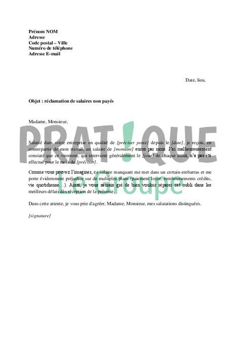 Exemple De Lettre Reclamation Lettre De R 233 Clamation De Salaires Impay 233 S Pratique Fr