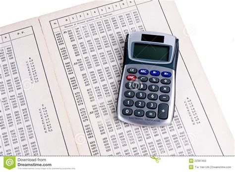 Z Table Calculator by Logarithm Table With Calculator Stock Photo Image