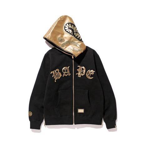 bape black shark zip hoodie 315 575 cop liked on polyvore featuring tops hoodies