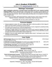 Radiology Technician Resume by Radiologic Technologist Resume Sle Jennywashere