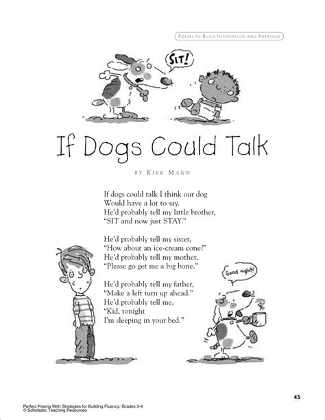 If Dogs Could Talk A Poem For Groups Printables