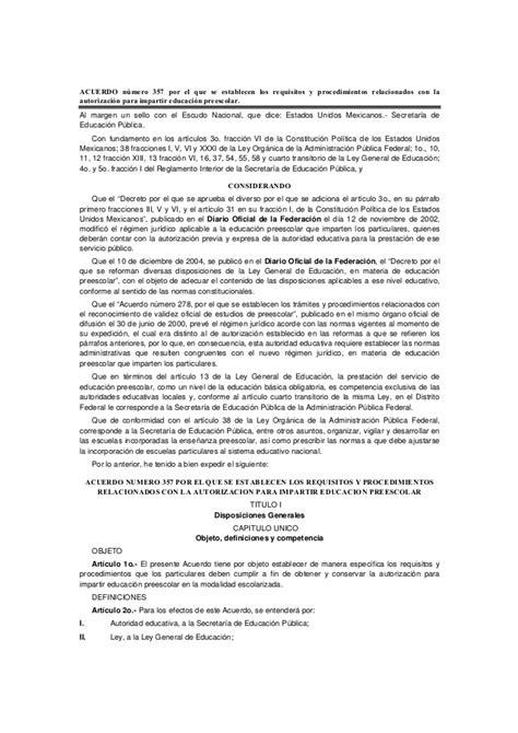 acuerdo nmero 020516 por el que se establecen los acuerdo n 250 mero 357