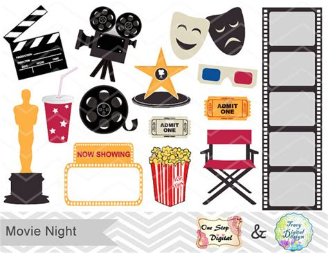 cute movie themes digital movie clip art digital movie party clipart digital