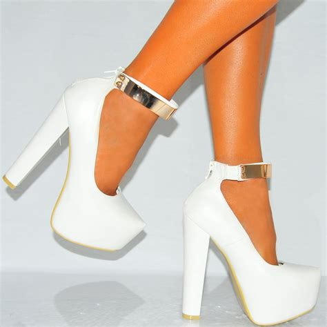 white high heels womens white pu faux leather concealed platforms
