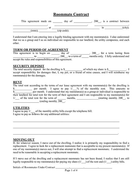 roommate template roommate agreement template cyberuse