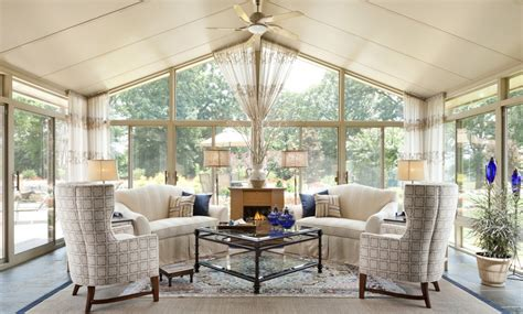 sunroom design idea with wide glass doors and windows also