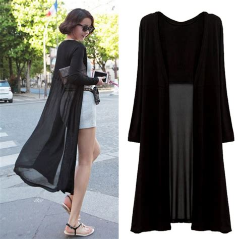 Maxi Dress Cardigan fashion sun protection chiffon sheer cardigan