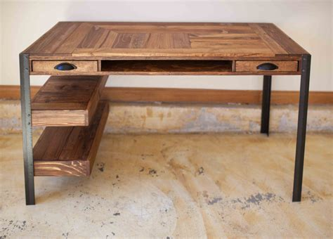 Pallet Wood Desk With 2 Drawers Center Shelf And 2 Lower Wooden Desk