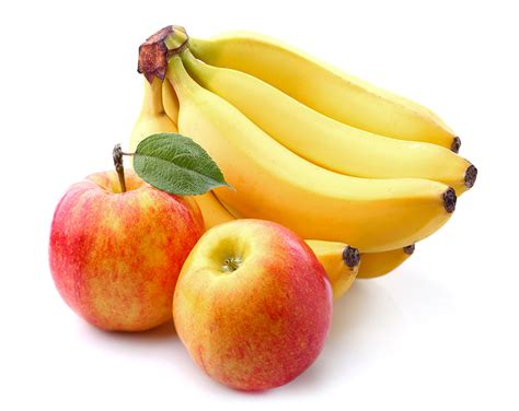 apple banana pictures apples bananas food closeup white background