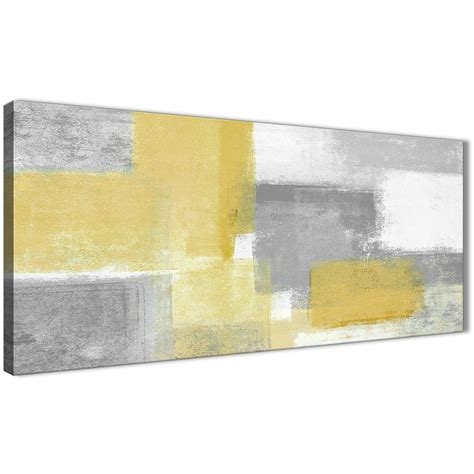 mustard yellow grey living room canvas wall art accessories abstract 1367 120cm print