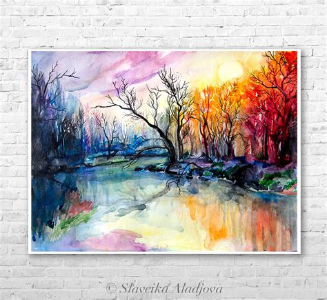 javascript print layout landscape river landscape watercolor painting print by slaveika