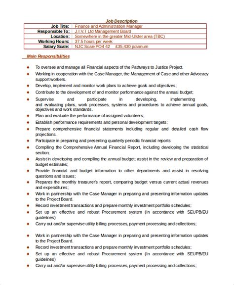 Administrative Manager Description by Sle Financial Manager Description 10 Exles In Pdf Word
